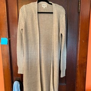Long length open cardigan